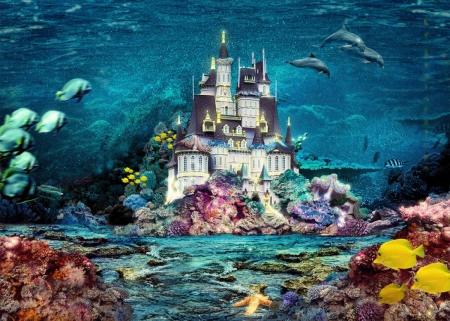 Underwater World - starfish, corals, fish, dolphins, painting, castle