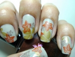 Fallen Leaves Autumn Nail Art Design
