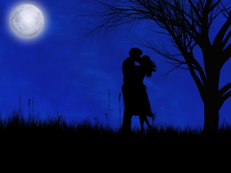 Romantic Night - blur, moon, romance, couple