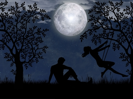 Romantic Night - moon, romance, night, couple