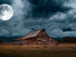 Moonlight Wyoming Barn