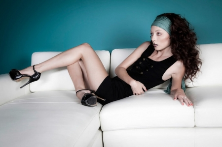 Zoe Voss - short, brunette, blue head band, black, tube dress, heels, ring