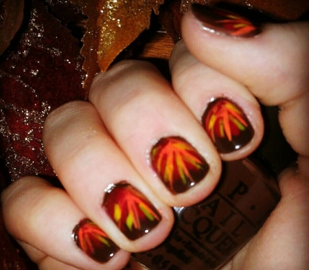 Glossy Autumn Fall Nail Art Photography Abstract Background