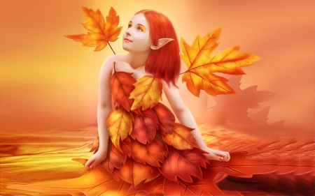 Little Autumn Elf - Elf, magical, elves, Fall, autumn, orange, yellow, sweet, fantasy, enchanting, leaves