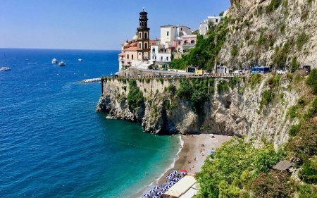 Atrani Amalfi Coast Italy Beaches Nature Background