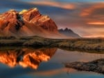 Reflection in water - vestrahorn, Iceland