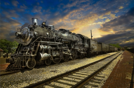 Santa Fe 3423 - photograph, train, engine, steam, rails, tracks, sky, vintage