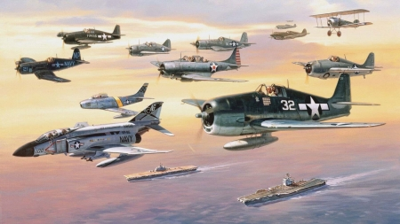 USA Navy Fighters - bombers, ships, carriers, military, collage, fighters, planes