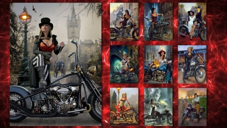 For The Love of Harley - harley, davidson, collage, bikes, girls, vintage