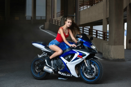 Girl on a Suzuki Motorcycle - brunette, model, motorcycle, shorts