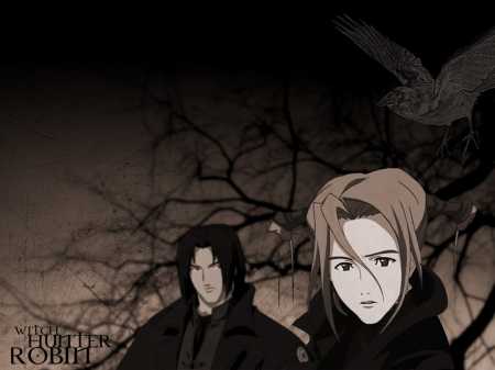 Robin & Amon - Anime Friends, Anime Guy, Sena, Anime Couple, Black Hair, Anime, Robin, Trees, Witch Hunter Robin, Robin Sena, Amon, Big Eyes, Black and White, Anime Girl, Crow, Witch