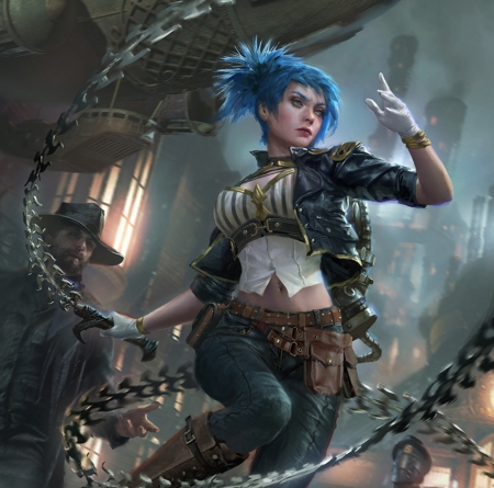Fantasy girl - blue, chain, fantasy, girl, billy christian, luminos, legend of the cryptids