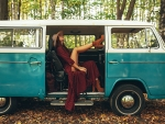 Girl Relaxing in her VW Van
