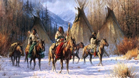 Winter in the Rockies - snow, horses, mountains, painting, natives, wigwams