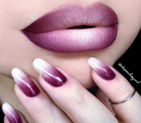 Beautiful Plum Lip And Nail Art Photography Abstract