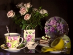 time for tea with pink roses