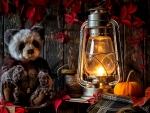 Kerosene Lamp And Teddy Bear