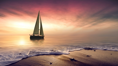 Sailboat - sailing, Beach, Waves, Sunset