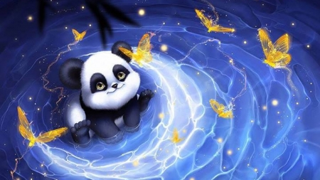 Golden Panda 3d And Cg Abstract Background Wallpapers On