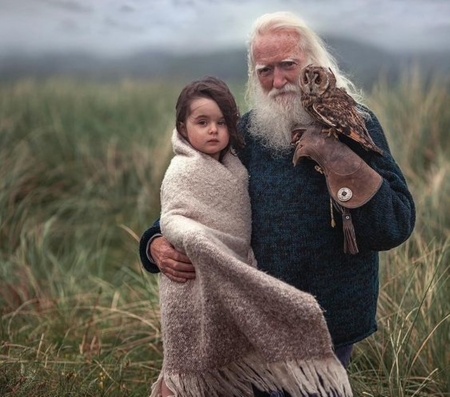 grandfather and grandchild - nature, grandchild, grandfather, photography, cool, birds
