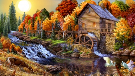 Autumn Water Mill - fall, autumn, cottage, birds, water mill, river, trees, deer
