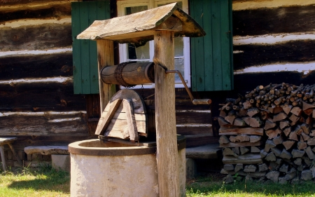 Old Well - house, old, wooden, well