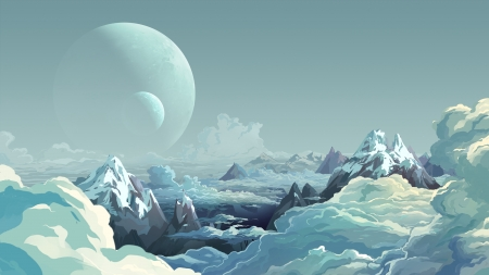 * - Planet, Mountains, Art, Clouds