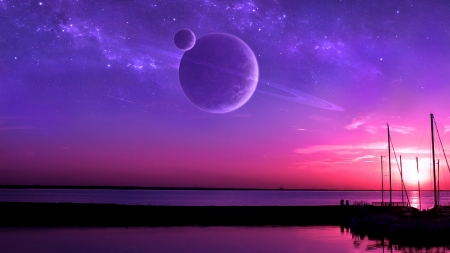 Fantasy - pink, sky, blue, luminos, ilsur gareev, luna, fantasy, water, moon, planet, saturn