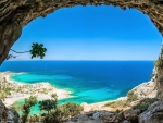 View of Turquoise Sea from Cave