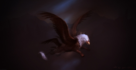 Griphon - griphon, griffin, eagle, pasari, creature, marianna gadzhi, wings, fantasy, bird, dark, white