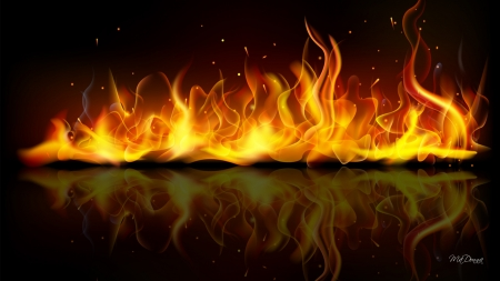 Burning - heat, Firefox theme, fire, flames, sparks, hot, reflection