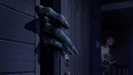 :D - fantasy, girl, dark, hand, monster, alien, doll, door, black