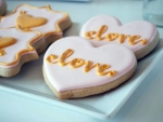 Pink And Gold Love Cookies