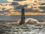 Lighthouse in Autumn Storm