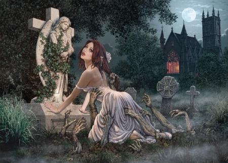 Earthward Bound - art, fantasy, gothic, girl, halloween, wallpaper, digital, woman, pretty