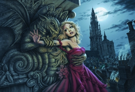 Gargoyle Embrace - gothic, wallpaper, dark, halloween, kathedral, digital, pretty, art, gargoyle, fantasy, moon