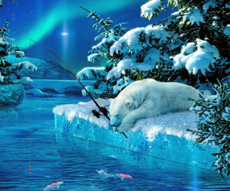 Sleeping Fisher Bear - stars, fishes, ice, northern light, trees, sky, artwork, polar bear