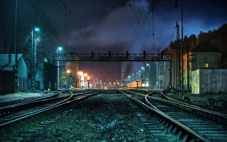 Train Station Railyard At Night Other Architecture