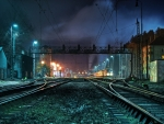 Train station & railyard @ night