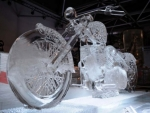 Motor Cycle Snow Art Sculpture