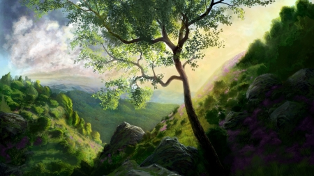 Landscape - fantasy, tree, green, mountain, art, luminos
