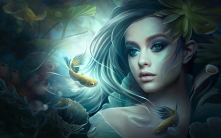 Lovely Siren and Fishes - lovely, fantasy, girl, Siren, fish, mermaid, Face, softness
