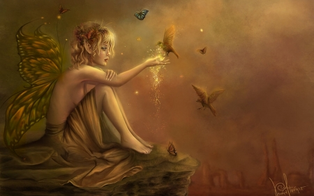 Gentle Fairy With Birds - enchanting, fantasy, lovely, magical, birds, browns, Elves, fairy, ethereal
