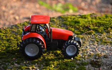 Toy Tractor - technique, toy, tractor, childhood