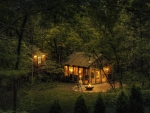 Cabin in the Woods at Night