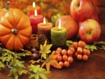 Pumpkins Fruit And Candles