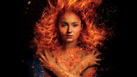 Dark Phoenix - jean grey, Sophie Turner, luminos, orange, black, comics, fire, fantasy, actress, dark phoenix, girl, x men