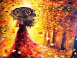 Autumn Umbrella Woman