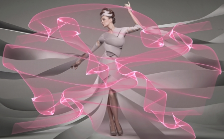 A dancer - pretty, dancers, girl, people, ribbon, abstract, pink, fashion, model