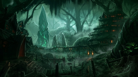 forest village fantasy \u0026 abstract background wallpapers on desktopforest village